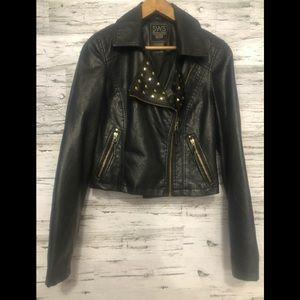 SWS vegan leather studded cropped moto jacket
